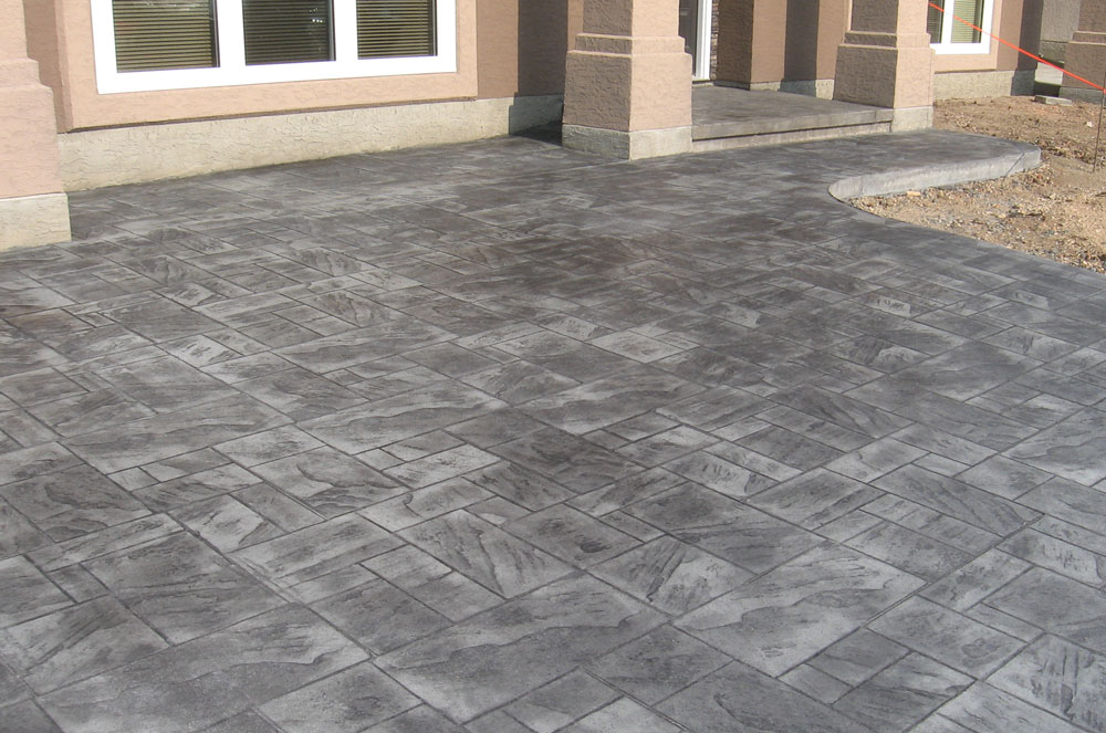 Grey Stained and Stamped Driveway