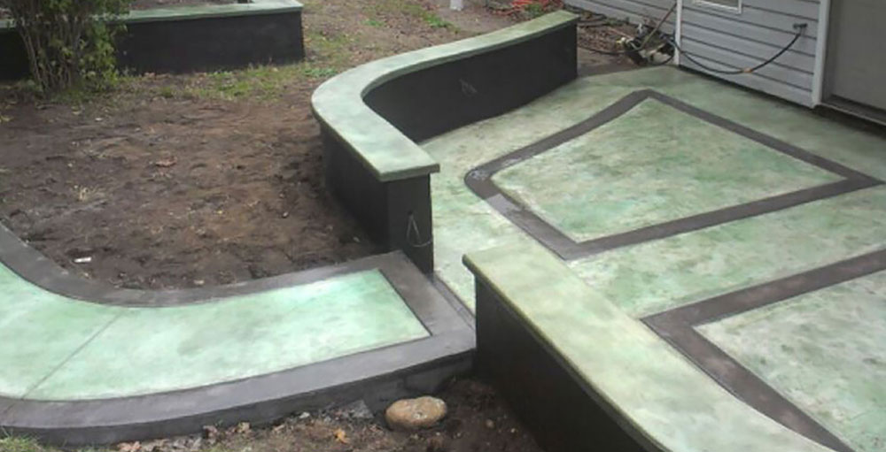 green stained cement